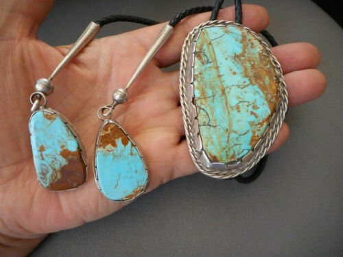 Huge Native American Turquoise Sterling Silver Bolo Tie with Turquoise Dangles