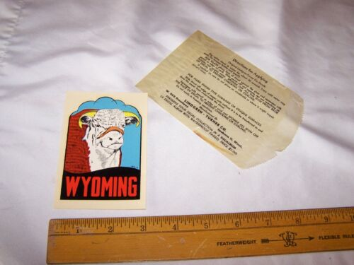 Vintage WYOMING Souvenir Travel DECAL - Hereford Cow Cattle