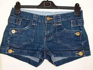 PRIMARK-BLUE-DENIM-TURN-UP-STUDDED-SUMMER-HOT-PANTS-JEANS-SHORTS-8-S