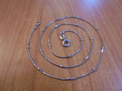 """Vtg Sterling silver fine ball chain necklace 16"""" 2.1 grams Italy"""