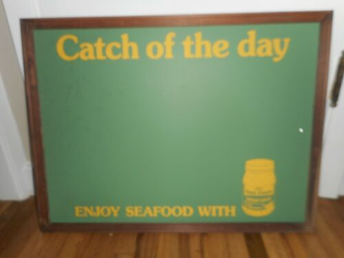 Vintage HELLMANS SEAFOOD TARTAR SAUCE ADVERTISING CATCH OF THE DAY BOARD SIGN