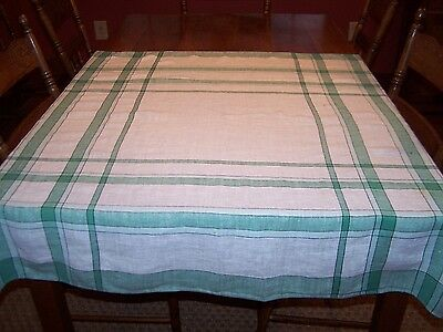 "Vintage Green White Plaid Linen Tablecloth 45""x48"" Depression Era Use/Repurpose"