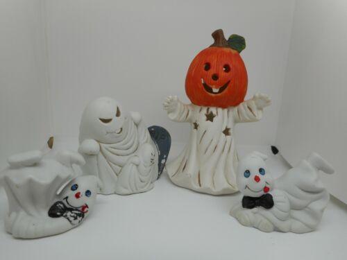 Vintage Halloween Ceramic Ghost lot of 4 Figurines