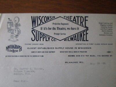 Movie Letterhead Wisconsin Theatre supply Simplex projectors - Movie Theater Supplies