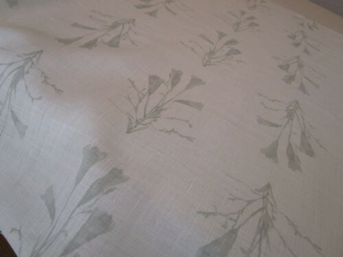 "Kerry Joyce Gentian Linen Fabric Remnant 37"" with cut out or 94cm green beige"