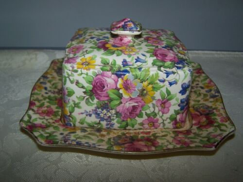 ROYAL WINTON GRIMWADES SUMMERTIME PATTERN CHINTZ SQUARE COVERED BUTTER DISH