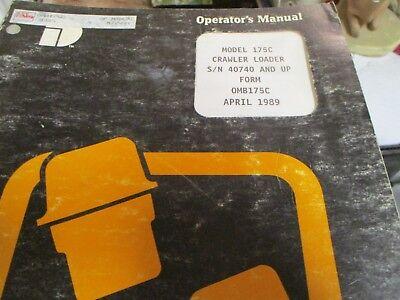 International 175c Loader Operators Manual 1989