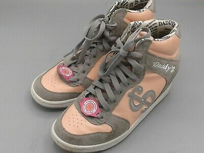 Skechers Daddy's Money Leath Secret Wedge Hi-Tops Pink Gray Womn Girls Shoes 5M , used for sale  Ripley