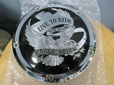 Harley Twin Cam Touring   Trike 2015   Later Derby Cover Black With Eagle