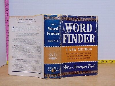 Word Finder  A New Method Not A Synonym Book By Ji Rodale  1957  Hardcover  12Th