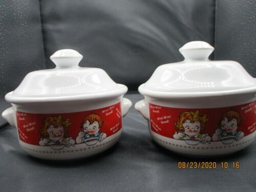 VINTAGE  SET of CAMPBELL 1998 SOUP BOWLS WITH LIDS