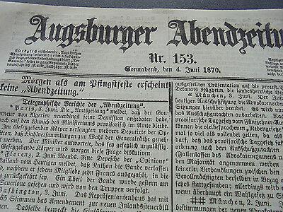 1870 Augsburg Zeitung 153 / Hopf aus Hohenwart / München Handwerker-ausstellung