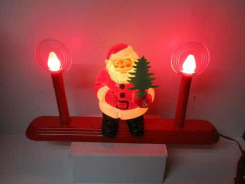 Vintage Royal Electric Light - Santa Holds Tree w 2 Halo Candles on Platform