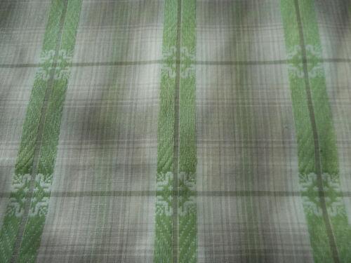Vintage Homespun Plaid Jacquard Shirting Cotton Fabric ~ Apple Green Taupe Gray