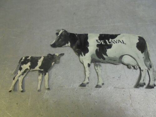 Vintage De Laval Delaval Advertising Tin Cow and Calf Holstein
