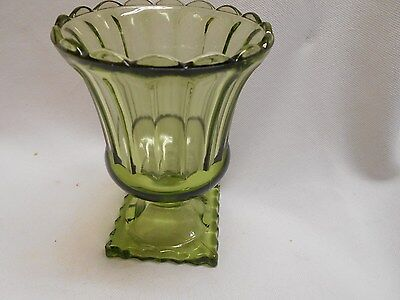 vintage green glass compote vase with square pedestal