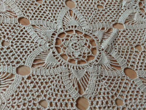ANTIQUE Lovely Vintage Handmade Crochet Lace Tablecloth Runner Beige