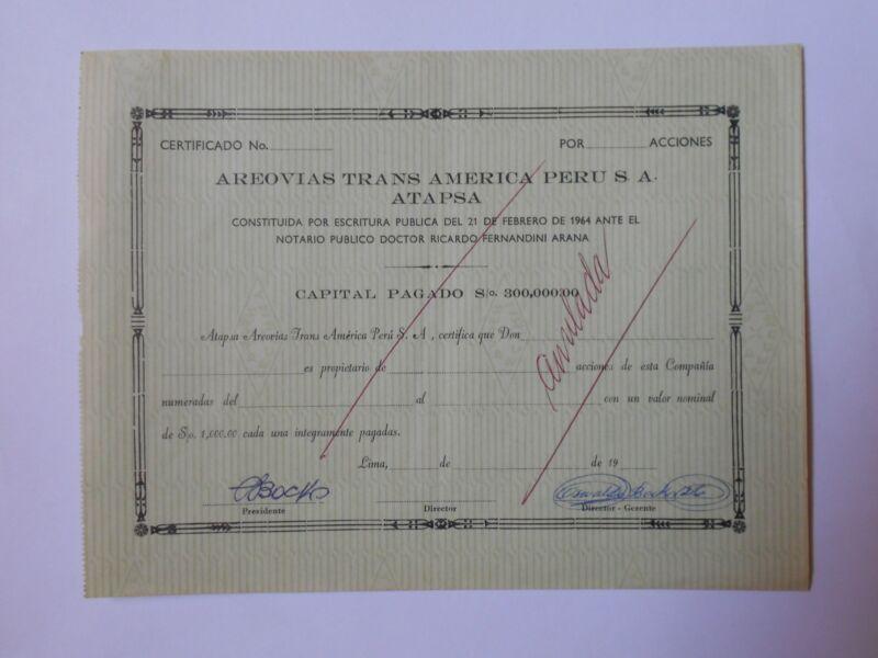 PERU Aerovias Trans America ATAPSA aviation share Lima 1964 domestic print Lima