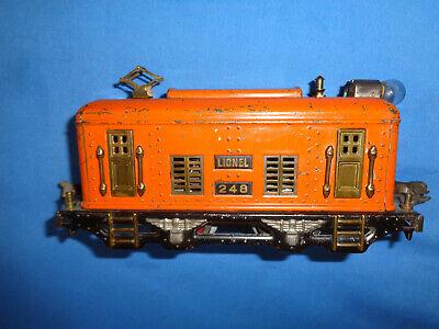 Lionel #248 0-4-0 Electric Locomotive in Orange. Runs Well