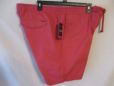 Chaps 100% Cotton Nant RED Elastic Waist Pull on Poplin Casual Shorts SR$45  NEW