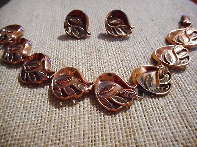 Vintage RENOIR Copper Leaf Link Bracelet & Earring Set