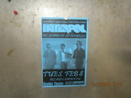 INTERPOL w/ SCHOOL OF SEVEN BELLS Boulder Theater 2011 SHOW POSTER BLUE