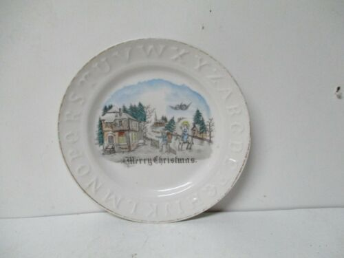 Very Old Germany Porcelain ABC Plate - Christmas Scene w Father Christmas