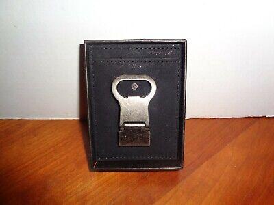 Mad Man Black Leather Slim Front Pocket Wallet Money Clip Bottle Opener
