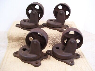 4 Large Vintage Industrial Iron Swivel Casters With Roller Bearings 3 Wheels