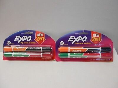 Lot Of 2 Expo 2 In 1 Dry Erase Markers 2 Count Asst Colors Chisel Tip N608