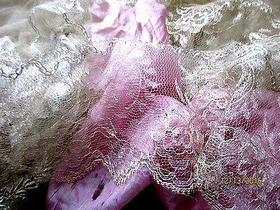 "LOVELIEST DELICATE ANTIQUE GOSSAMER SILK WEDDING LACE TRIM OFF-WHITE 30"" x 3.5"""