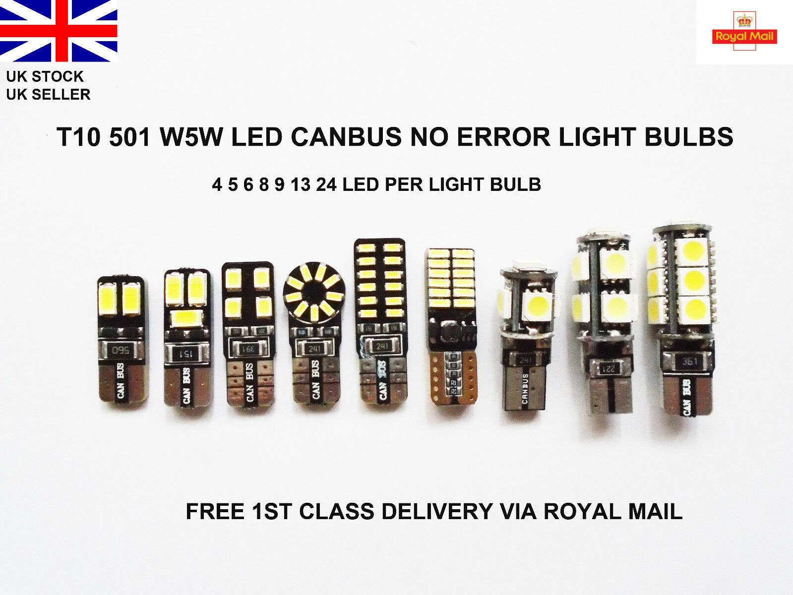 Car Parts - T10 CAR BULBS 4-24 LED ERROR FREE CANBUS SMD XENON WHITE W5W 501 SIDE LIGHT BULB