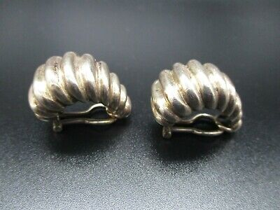 Gucci Sterling Silver CLIP ON Earrings, Vintage Swirl Shell Hoop Design