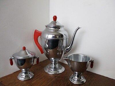 MCM Art Deco-Style Stainless CHROME & RED BAKELITE Tea Set Pot Cream Sugar RARE!
