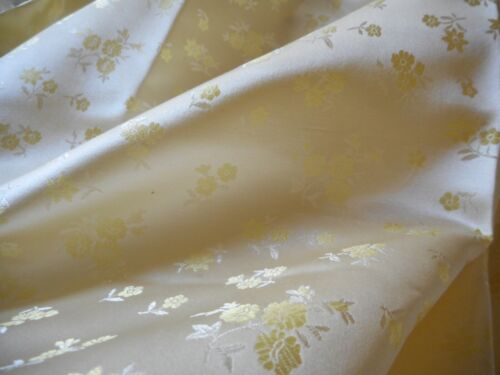 Vintage Small Scale Yellow Floral Silk Brocade Jacquard Fabric ~  dolls home etc