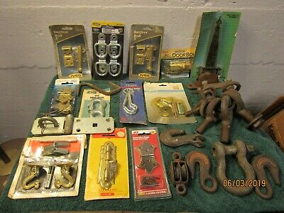 Vintage Lot of Eye Hooks Farm Decor Ceiling Hook Door Slide Bolts Some New