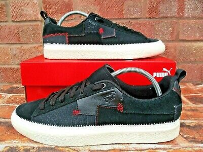PUMA CLYDE REFORM PATCHWORK TRAINERS SIZE 9.5 BLACK RED , SUEDE LEATHER TEXTILE