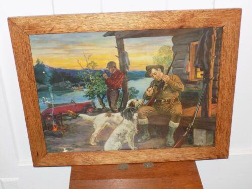 Vintage 1930's Hunting Advertising Print in Wood Frame