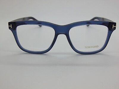 NEW Authentic TOM FORD TF 5372 090 Blue Transparent/Gunmetal 54mm Rx Eyeglasses