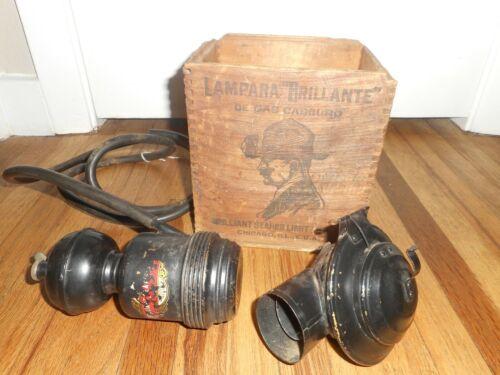 RARE Vintage LAMPARA BRILLIANT SEARCH LIGHT CARBIDE MINERS LANTERN LAMP & CASE