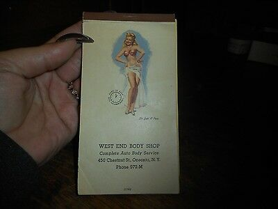 Vintage 1949 Pin Up Girl Calendar West End Body Shop Oneonta NY