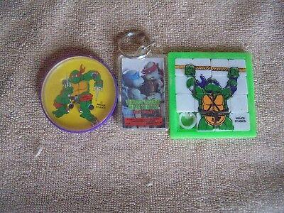 Vtg Teenage Mutant Ninja Turtles Movie Key Chain Slide Puzzle Ball Game Lot 3