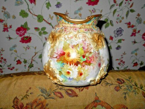 Antique Doulton Burslem Chrysanthemums  Biscuit Jar Cookie Barrel Raised Mold~
