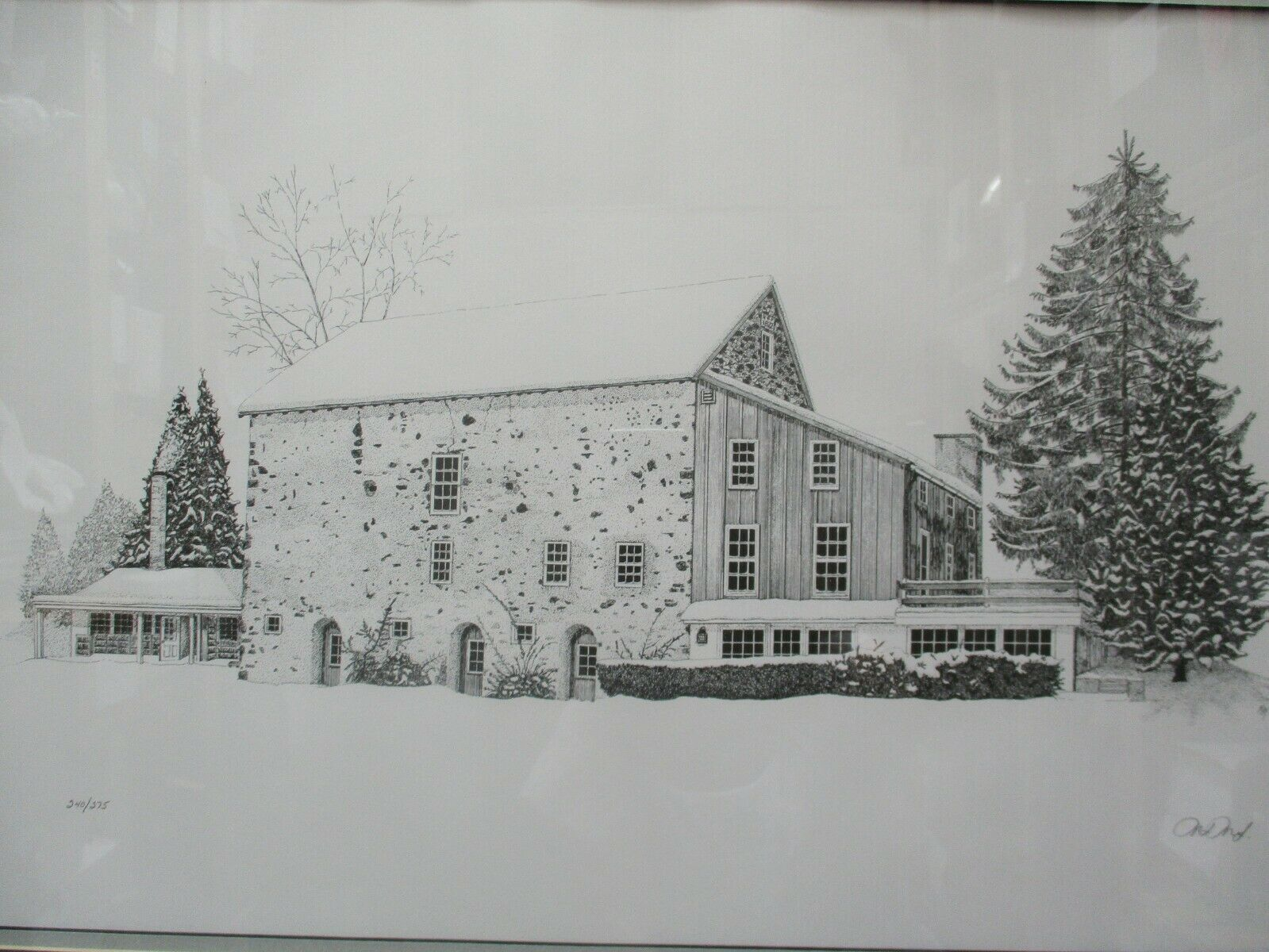 "Pen & Ink Farmhouse Barn Snow Scene Matted Framed Signed 28.5"" X 22.5"""