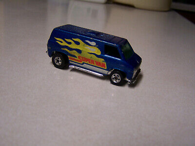 Hot Wheels Vintage Old Black Wall Super Van Blue Flames,  Nice Condition!!