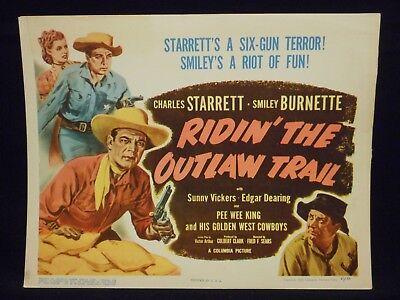 Charles Starrett The Durango Kid Ridin' The Outlaw Trail 1951 Title Lobby Card