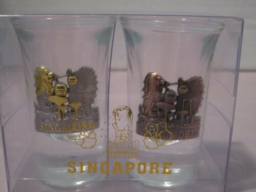 2 New Souvenir Singapore glass/pewter Shot Glasses with Merlion  FREE SH