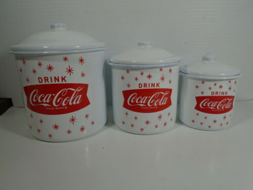 Coca Cola Metal Enamel Kitchen Canister Stars 3 Piece Set With Lids