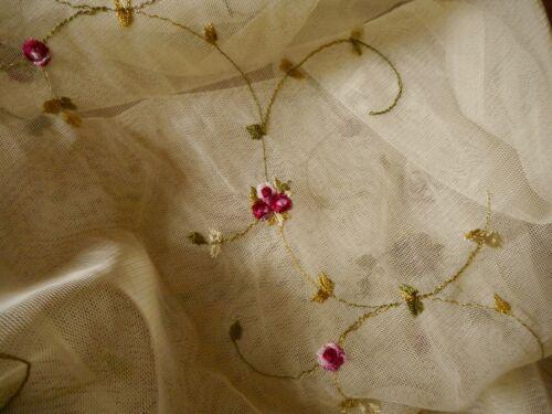 Vintage Embroidered Rose Bud Floral Net Fabric ~ Pink Wine Olive ~ nylon tulle