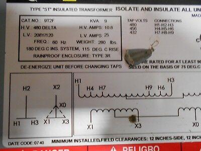 Square-d 9 Kva Transformer Cat No.9t2f 480 Delta 208120 Single Phase Rain Tight